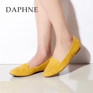 Daphne/达芙妮女鞋 甜美圆头平底羊皮铆钉单鞋1015101014