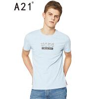 以纯线上品牌a21 2017夏装新款T恤男休闲时尚印花圆领修身短袖上衣 170/84A(M)
