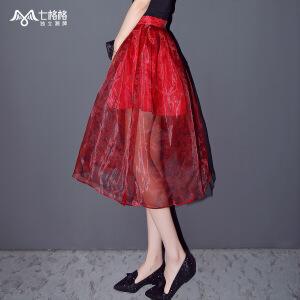 【9.21超级品牌日】七格格05夏新款 花色印花百褶裙 红色薄款半身裙