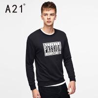 以纯A21男装圆领套头撞色印花字母长袖卫衣 时尚休闲运动男士秋装新品