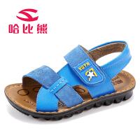 哈比熊童鞋儿童凉鞋男童鞋夏季韩版软底中大童牛皮儿童沙滩鞋子潮