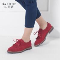 Daphne/达芙妮真皮英伦学院风圆头流苏低跟女1515404003
