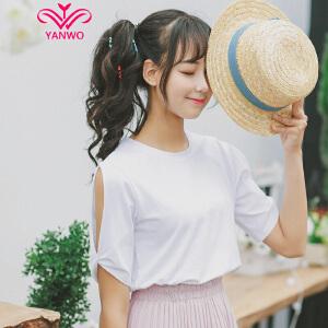演沃 小性感 别致露肩翻袖 短袖T恤女 2017夏装新款