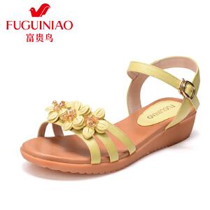 富贵鸟2017夏季新款小清新坡跟女鞋甜美花朵一字扣女凉鞋子