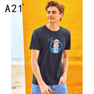 以纯线上品牌a21 半袖体恤2017新款T恤男短袖夏装男士纯色潮流修身百搭个性上衣