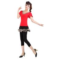 广场舞服装短袖跳舞演出服装广场拉丁瑜伽舞蹈豹纹套装女夏