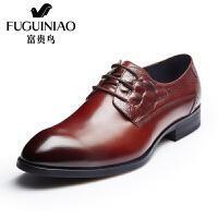 富贵鸟皮鞋  新款尖头商务正装皮鞋男士系带英伦复古男鞋