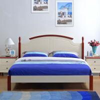 尚满 地中海卧室家具系列边框实木板式单双人床 中式高箱储物床 排骨架简易床体 (不含床垫)