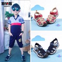 斯纳菲男童凉鞋2017新款夏季中大童宝宝小孩运动儿童包头沙滩鞋