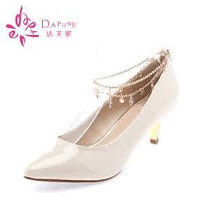 Daphne/达芙妮浅口平底鞋 漆皮浅口尖头细高跟单鞋