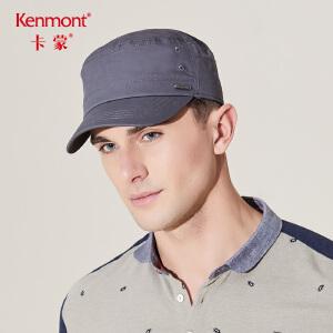 卡蒙全棉平顶帽子男户外夏天军帽纯黑软顶鸭舌帽男中年户外防晒帽3402