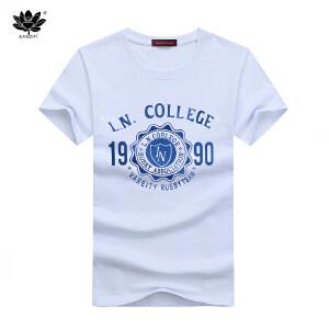 EASZin逸纯印品 短袖T恤男 韩版圆领1990印花半袖体恤衫 直筒版