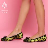 Daphne/达芙妮女鞋 低帮浅口豹纹布面俏皮蝴蝶结装饰女单鞋1014101182