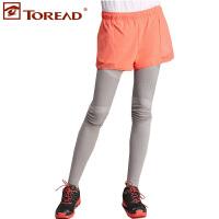 探路者2016春夏新款女式户外跑步裤一体裤弹力塑形裤KAME82336