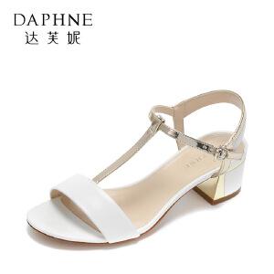 Daphne/达芙妮17夏舒适低跟女鞋 简约圆头撞色丁字带环扣露趾凉鞋