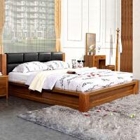 尚满 浅胡桃实木框架系列卧室家具 1.5/1.8米单双人床 皮艺靠垫高箱板式床 现代中式古典皮质床头