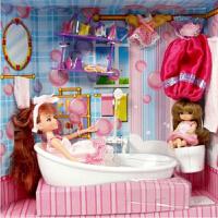 乐吉儿 芭比娃娃套装 布洋娃娃卡通 场景模拟过家家女孩 益智启蒙 礼物 喷水梦幻迷你浴室