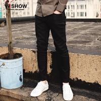 viishow春装新款牛仔长裤 欧美潮流黑色牛仔裤男 修身直筒裤