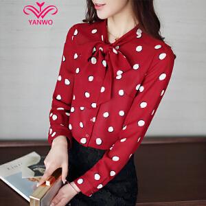 演沃 2017春装新款韩版女装圆点上衣雪纺衫女长袖系带衬衣