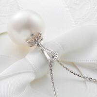 私人定制专拍 珍珠镶钻扣头 珠宝定制 珍珠吊坠 白18K金 唯美时尚