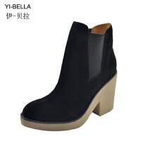 伊贝拉(YI_BELLA)秋冬新品女靴真皮短筒靴女韩版欧美英伦风超高跟坡跟套筒女靴