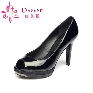 Daphne/达芙妮高跟防水台金属装饰鱼嘴单鞋1015102032