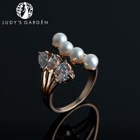 【茱蒂的花园】新款八面玲珑珍珠镶钻简约百搭女士时尚开口戒指尾戒均码可调节活口戒指指环指套女生女式女款