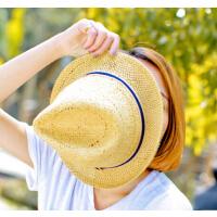 夏天英伦礼帽 沙滩帽子 手工编织草帽  缕空沙滩帽男女帽子