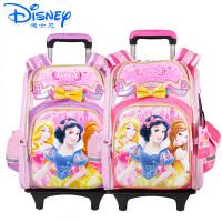 Disney/迪士尼 公主女童卡通小学生儿童太空减负双肩可拆卸拉杆书包PB8168