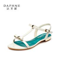 Daphne/达芙妮正品女鞋 夏季平底鞋蝴蝶结露趾低跟一字扣女凉鞋