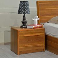 尚满 边框实木床头柜浅胡桃实木系列卧室家具 式现代中式家具板床头储物柜