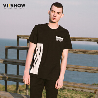 VIISHOW2017新款夏装字母印花圆领套头短袖T恤男纯棉男士短t