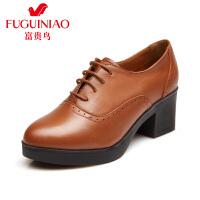 富贵鸟秋季新款及踝靴粗跟单鞋女英伦高跟鞋防水台女鞋