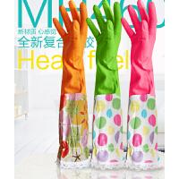 蔓妙合成胶MH460松紧带蕾丝花袖加绒护肤保暖家务防水手套大小号
