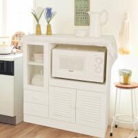 家逸 实木餐边柜 现代茶水柜碗橱白色简约储物柜厨房柜餐边桌 微波炉柜