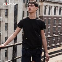 viishow夏装新款短袖T恤 欧美潮流短袖男 亮色提边纯棉T恤黑