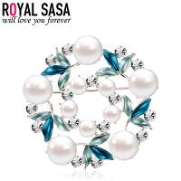 皇家莎莎Royalsasa韩版新款合金珍珠人造水晶胸针胸花别针-花样心境