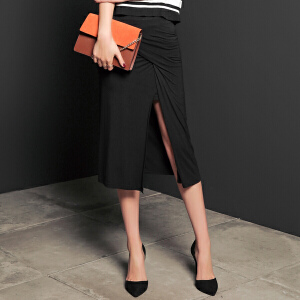 【9.21超级品牌日】七格格夏装新款 个性高开衩 纯色休闲中长通勤半身裙