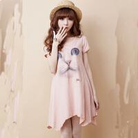 慈颜CIYAN孕妇装 夏季 猫咪孕妇T恤裙 中长款短袖孕妇连衣裙YIFEI3538