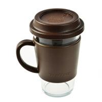 三光云彩Glasslock 500ml乐扣有柄钢化玻璃水杯带盖杯办公茶杯RC106巧克力色