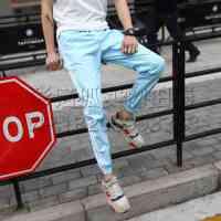 哈伦裤男小脚裤修身夏季男士休闲裤 薄款弹力束脚卫裤潮男运动裤