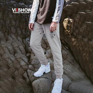 VIISHOW2017秋装新品休闲长裤男字母装饰卫裤小脚裤男士裤子潮