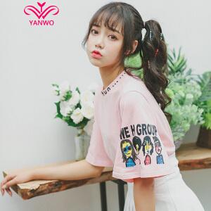 演沃 童趣小恶搞 喇叭袖 宽松短袖T恤女 2017夏装新款