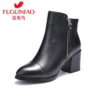 富贵鸟女鞋 女靴子 新款系带粗跟短靴冬季马丁靴短靴女皮靴