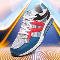 金帅威 男鞋革面低帮气垫减震跑步鞋男运动休闲鞋学生旅游鞋子