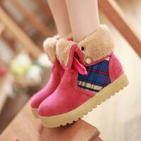 彼艾2016女靴子厚底甜美雪地靴平底平跟短靴秋冬韩版学生棉鞋系带女靴子