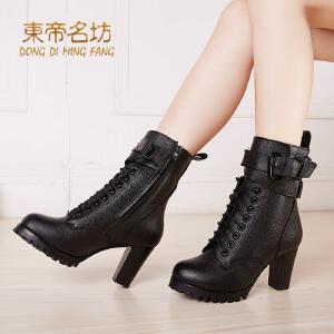 东帝名坊头层牛皮真皮复古马丁靴欧美时尚骑士靴粗跟高跟短靴子棉鞋中筒靴32706