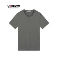 viishow夏装新款短袖t恤 欧美简约基础短袖男 灰色纯棉修身t