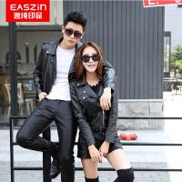 逸纯我品(EASZin)情侣皮衣 男女士皮夹克外套 韩版修身西装领短款皮外套 仿真皮皮衣