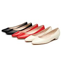 Daphne/达芙妮杜拉拉女单鞋粗低跟尖头真羊皮浅口单鞋1715101905